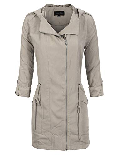 Instar Mode Women's Spring Lightweight Faux Suede Zip Up Solid Safari Jacket Coat Earth Grey L