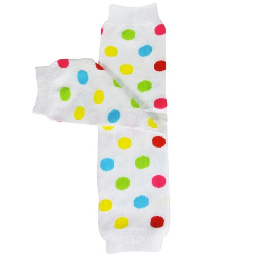 Bowbear Baby Polka Dot and Solid Color Leg Warmers, White and Rainbow Dots