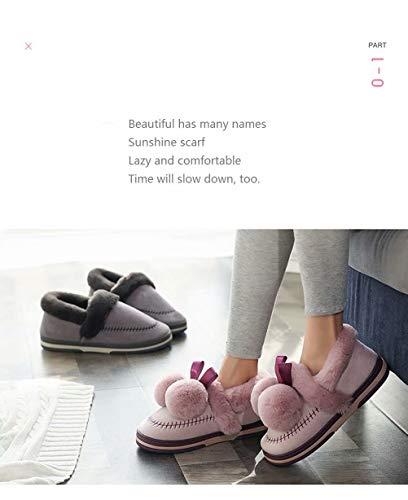 Femmes slip Complet Coton C Enveloppé Design Hiver Semelle Plein Pour Pantoufles Intérieur Anti Souple En Hommes Gris Talon Moelleux Polaire Air ynwO8Nvm0