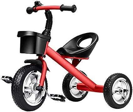 JINHH Triciclo Tranvía, Bicicletas Niños Seguridad para Los Niños 1/3/5/6 Años Kid Luz del Coche De Bebé (Color: Rojo)