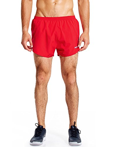 Baleaf Men's Quick-Dry Lightweight Pace Running Shorts Red Size S