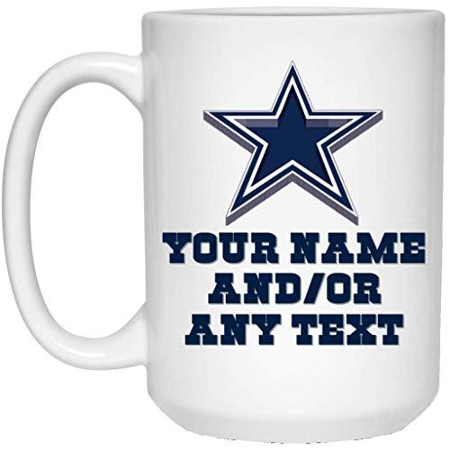 Custom Personalized Dallas Cowboys Coffee Mug Cowboys 3D Logo Mug 15 oz White Ceramic Coffee Cup Great for Tea and Hot Chocolate NFL NFC National Football League Perfect Gift Idea for any Cowboys Fan