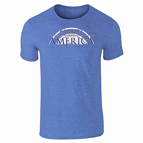 (Pop Threads Jed Bartlet for America Presidential Campaign Heather Royal Blue 2XL Short Sleeve T-Shirt)