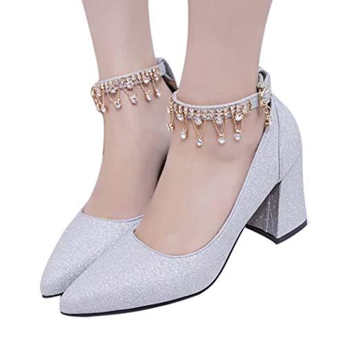 Printemps Chaussures Pointues à Talons éPais Mode Hauts amp;H Automne S Hiver Talons Pompes Argent Quatre Femme Chaussures Chaussures NEEDRA qatnv4