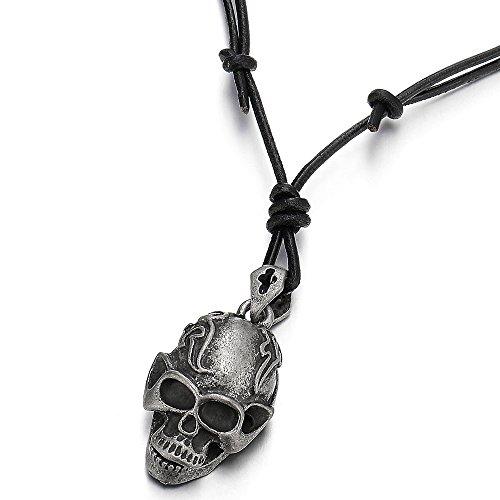 1e6710db129e Barato COOLSTEELANDBEYOND Punk Rock Vintage Cráneo Collar con Colgante de  Hombre Muchachos Niños