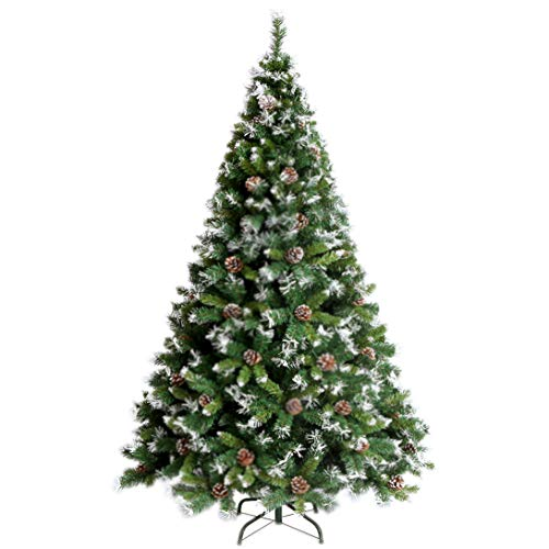 YOURFUN Premium Hinged Artificial Christmas Pine Tree 4-7FT Easy Assembly Solid Metal Legs 300-1100 Tips (Snow Cover/Pine Nuts, 6FT/900Tips)
