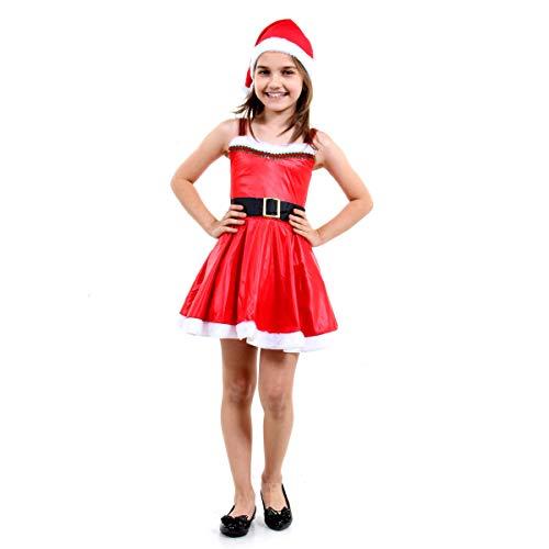 Fantasia Mamãe Noel Infantil Sulamericana Fantasias Vermelho/Branco P 3/4 Anos