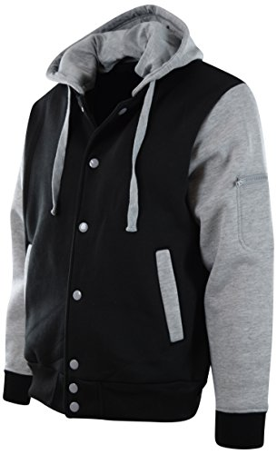 ChoiceApparel® Mens Baseball Varsity Jacket With Detachable Hoodie (XL, 901-Black/Grey)