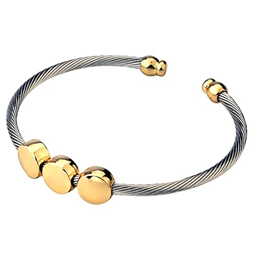 (CHRAN Fashion Stainless Steel Cable Cuff Bangle Bracelets for Women Party Jewelry(01))