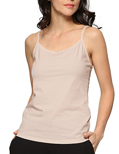 GYS Womens Essential Adjustable Camisole Tank Top (M,Beige) (Camisole Slip Stretch)