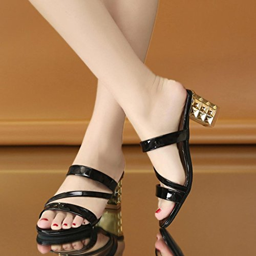for Black Sparkly Glitter Platform Heel Wide 7 High Gold 2 Shoes Women Peep Sandals Block Wedge Sliver Lolittas Toe Fit Size Chunky Summer Mid Gladiator q0xwYESYA