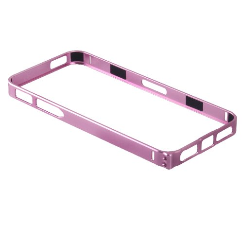 DHSHOP Fashion Luxury Ultra-Thin 0.7mm Aluminum Metal Alloy Blade Bumper Bezel Frame Case Cover for iPhone 5 5G 5S (Pink)