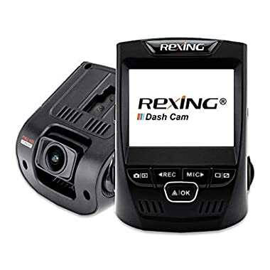 Rexing V1 Car Dash Cam 2.4  LCD FHD 1080p 170° Wide Angle Dashboard Camera Recorder with G-Sensor, WDR, Loop Recording