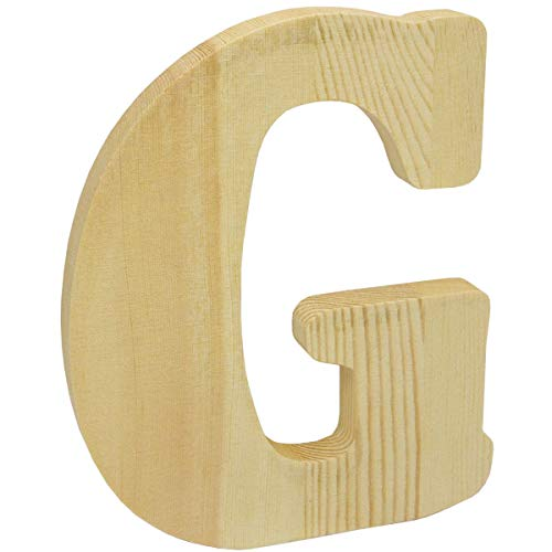 8 inch Chunky Unfinished Wood Letter G]()