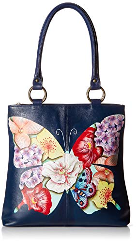 Anna by Anuschka Women's Genuine Leather Large Classic Shopper | Hand Painted Original Artwork | Butterfly Mosaic, One - Hobo Anna