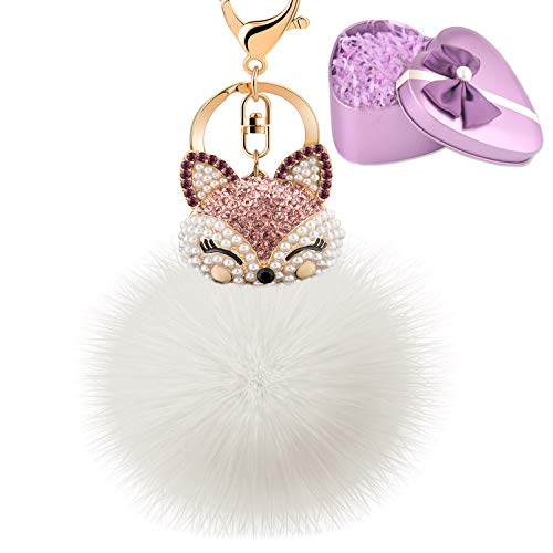JOUDOO Fluffy Fur Ball Keychain With Gift Box Fox Head Pom Pom Keyring GJ020 (white 1)