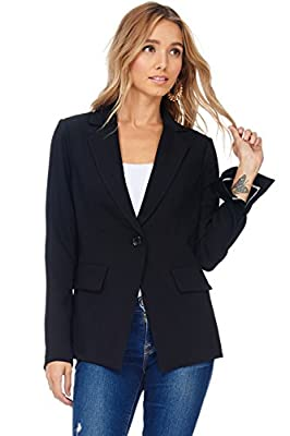 A+D Womens Casual Fit Lapel Office Blazer Jacket w Slit Sleeves