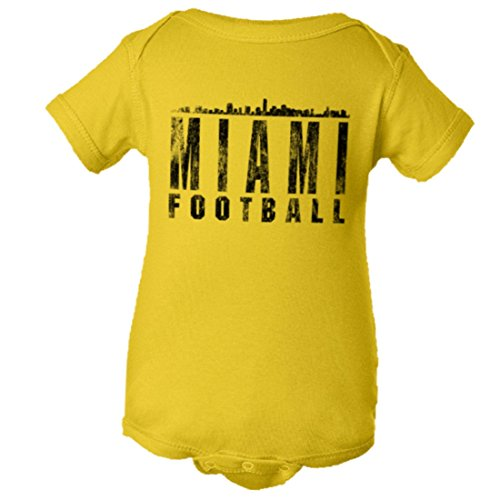Baby Miami Football Distressed Dolphins Skyline HQ Jumper-Yel-24M