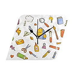 HangWang Wall Clock School Supplies Element Pattern Silent Non Ticking Decorative Diamond Digital Clocks Indoor Outdoor Kitchen Bedroom Living Room