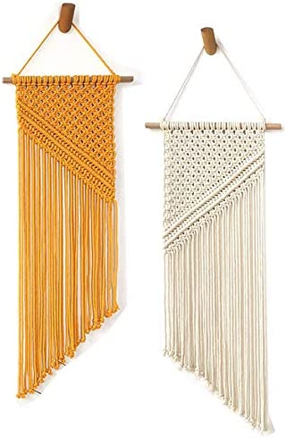 2 Packs Macrame Wall Hanging Boho Wall Decor,Woven Tapestry for Home Decoration,Bedroom Living Room Wall Hanging Decor Art Yellow White