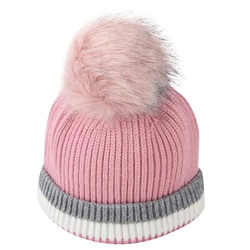 Ball Crochet Striped - Kasien Baby Caps, Toddler Girl&Boy Baby Infant Winter Striped Crochet Knit Hat Beanie Hairball Cap (Pink)