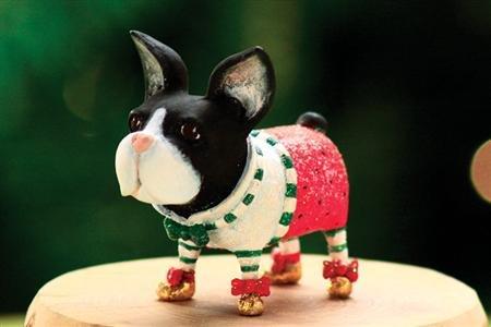 - Patience Brewster Mini Boston Terrier Christmas Figural Ornament 08-30412