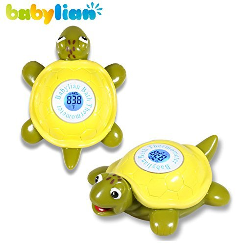 Babylian Floating Toy Tortoise Bath Thermometer for Baby Bathing Water Temperature Measure and Safe & Happy Bathing (Tortoise)