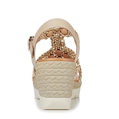 L@YC Frauen Sandalen Hang mit wasserdichten Plattform Casual Damen High Heel Komfortable Strand Schuhe Yellow