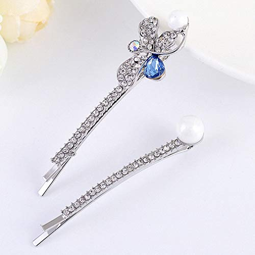 Womens Pretty Chic Dragonfly Imitation Pearls Rhinestone Hairgrip Fancy Hairpin Barrette Headwear Accessories Women Girls Jewelry blue ()
