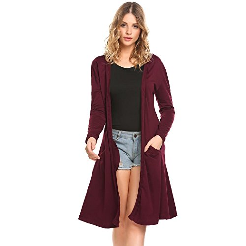 Dicesnow Womens Open Front Long Sleeve Pocket Classic Slim Lightweight Duster Cardigan