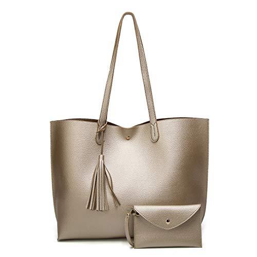 SIFINI Women Tassels PU Leather Bag Simple Style Shopping Handbag Shoulder Tote Bag (gold)