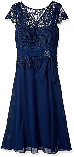 Emma Street Women's Lace Top with Pleated Sash and Tea Length Chiffon Skirt, Navy, 16 (Pleated Sash)