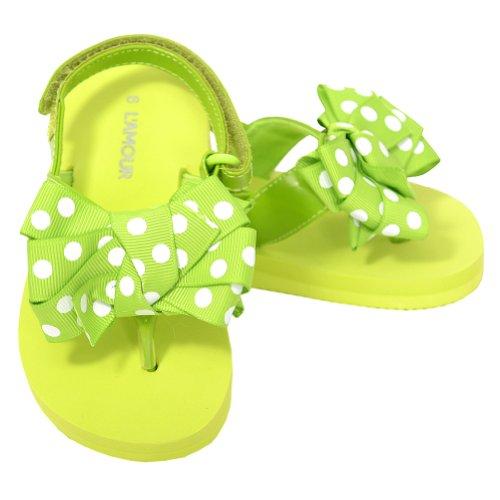 L'Amour Toddler Girls 5 Green Polka Dot Bow Wedge Flip Flops Sandals