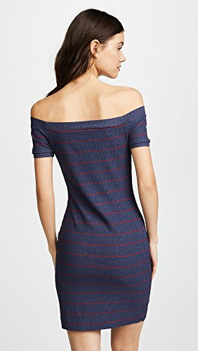 Susana Monaco Women's Francesca Pinstripe Rib Dress, Indigo/Red, L by Susana Monaco (Image #3)