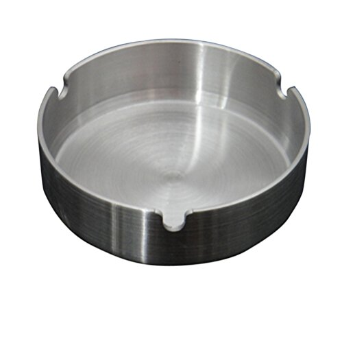Xinyu Home Silver Tone 10cm Stainless Steel Round Cigarette Ashtray, for Home or Office ()
