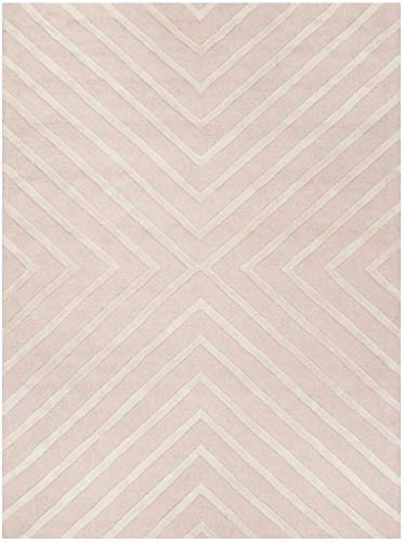 Safavieh Kids Collection SFK920P Handmade Pink and Ivory X-Pattern Wool Area Rug (5' x 7')