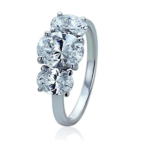 14K White Gold 2 Carat Oval CZ Three Stone Wedding Anniversary Ring, 7