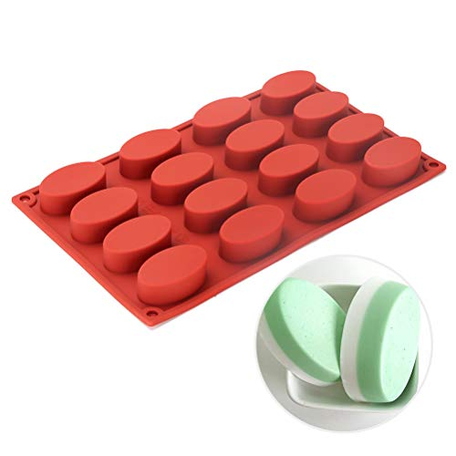 Silicone Oval Mold - 16 Cavities Nonstick Silicone Mold, Soap Mold Chocolate Molds, Ice Cube Tray, Silicone Candy Mold, DIY Moulds for Muffin/ Biscuit - Mold Chocolate Oval