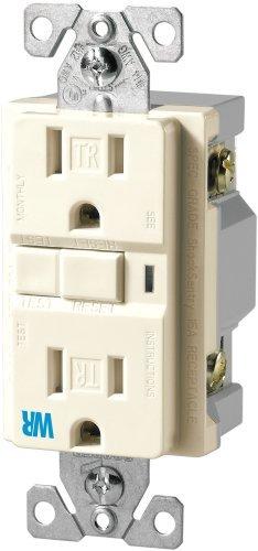 EATON Wiring TWRVGF15LA 15-Amp 2-Pole 3-Wire 125-Volt Tamper and Weather Resistant Ground Fault Circuit Interrupter Duplex, Light Almond