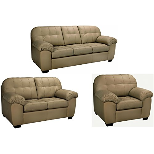 Sofaweb.com Sophia Taupe Italian Leather Sofa, Loveseat and Chair