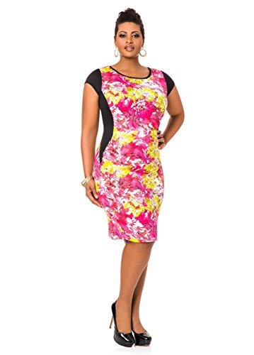 Ashley Stewart Women's Plus Size Floralblocked Sheath Dress - Size: 18, Color: Black