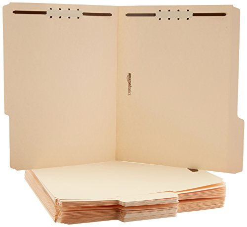 AmazonBasics Manila File Folders with Fasteners - Letter Size, 100-Pack - AMZ201