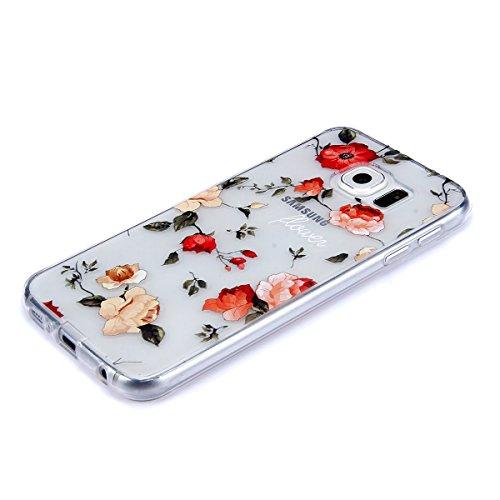 Funda Samsung Galaxy S6 edge,SainCat Moda Alta Calidad suave de TPU Silicona Suave Funda Carcasa Caso Parachoques Diseño pintado Patrón para CarcasasTPU Silicona Flexible Candy Colors Ultra Delgado Li Flores