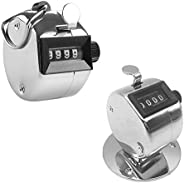4 Digit Hand Tally Counters, AFUNTA 1 Pcs Handheld Counter & 1 Pcs Counter with Base, Mechanical Manual Cl
