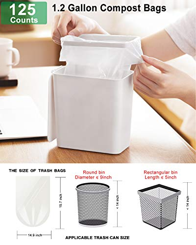 1.2 Gallon Compostable Trash Bags, Small Trash Bags for bathroom office kitchen, Strong Small Garbage Bags fit 4.5-5 Liter Trash Can,1 Gallon-1.5 Gallon,White Compost Bags