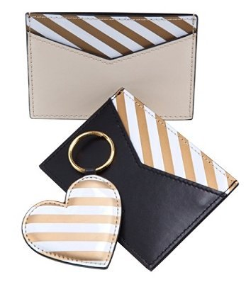 See Jane Work Faux Leather Business Card Holder & Heart-shaped Key Ring Set, Tan/Black
