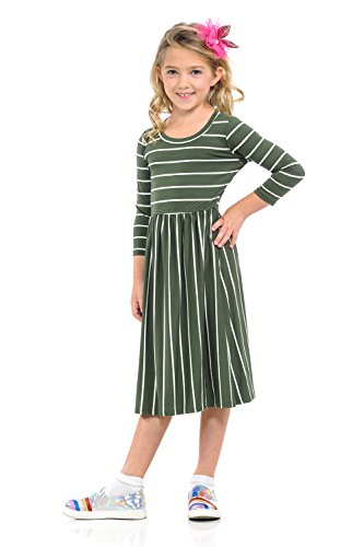 Pastel by Vivienne Honey Vanilla Girls' Fit Flare Midi Dress Easy Removable Label Large 9-10 Years Olive Striped -