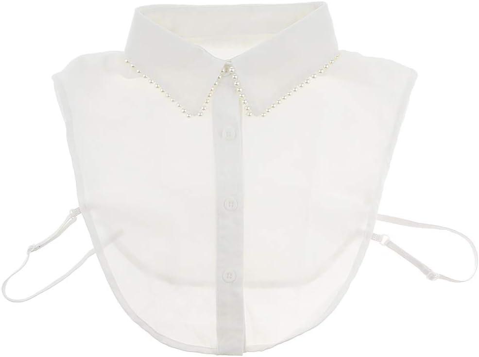 F Fityle Collar Falso Camisa Mitad de Cuello Desmontable Accesorios para Vestido Suéter Camiseta - Diseño de Perla Blanca