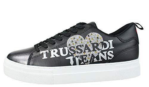 41eu Con Sneakers Trussardi Black In Punta Lucida 79a00234 Women's Pelle Jeans qw88xXTI