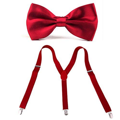 HDE Men's Pre-Tied Adjustable Bowtie Y-Back Clip Suspenders for Wedding Prom Tux (Red) (Red Bow Tie)
